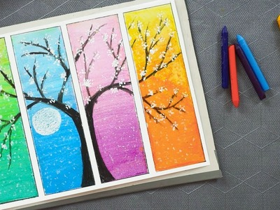 Flower Tree Drawing With Oil Pastels - How to Draw Life Hacks Colored Flower Tree Spring Oil Pastels