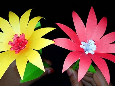 FlowerUPC | How to Make Beautiful Paper Flowers Stick For Room Decoration | Paper Flowers Tutorial