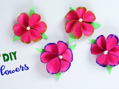 Glitter Paper Flowers ||  How To Make Realistic Glitter Paper Flowers || Paper Crafts || Paper Girl