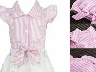 How to make baby shirt.top for baby girl.BOW KNOT BABY TOP.CUTTING TUTORIAL