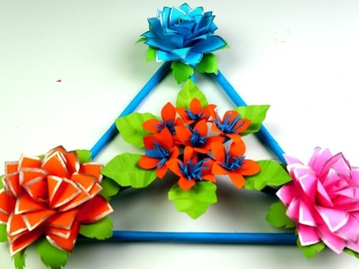 How to Make Beautiful Wall Hanging With Paper - Paper Flower Wall Hanging - Wall Decoration ideas
