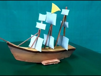 How to make Boat with Popsicle Stick+Paper Board