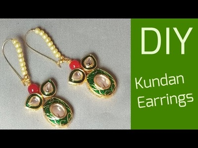 How to make designer kundan hoop earrings at home.DIY indian bridal jewelry making tutorial