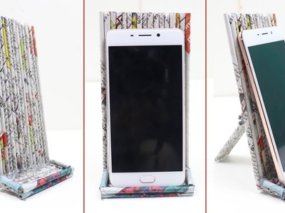 How to Make Easy DIY Smartphone Holder Mobile Stand with Rolled Newspaper Best out of Waste Crafts