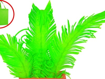 How To Make Fern Plant with Waste Carry Bag || DIY Shopping Bag Fern Leaves Tree
