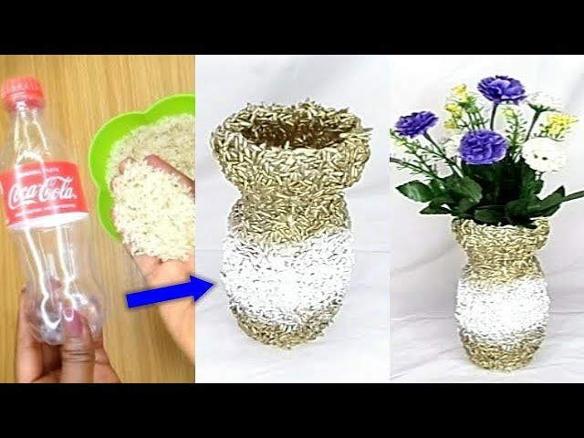 HOW TO MAKE FLOWER VASE AT HOME WITH COCACOLA PLATIC BOTTLE AND RICE