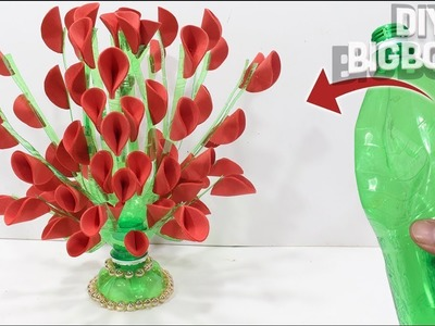 How to make flower vase with plastic bottle (New idea)  DBB