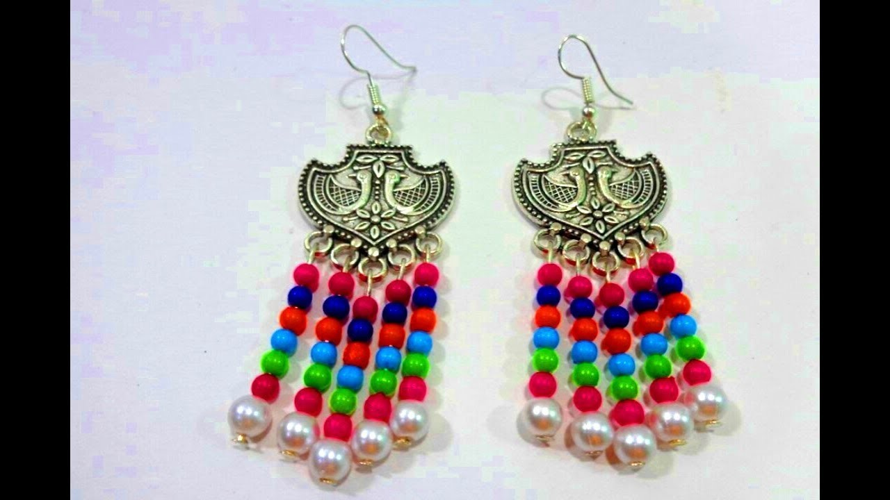 How to Make German Silver Multicolour Earring.Party Wear Silver Jhumkas.DIY-German silver Earring