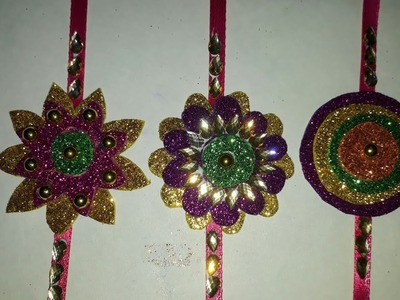 HOW to make glitter paper rakhi at home.glitter paper rakhi.Rakhi making at home