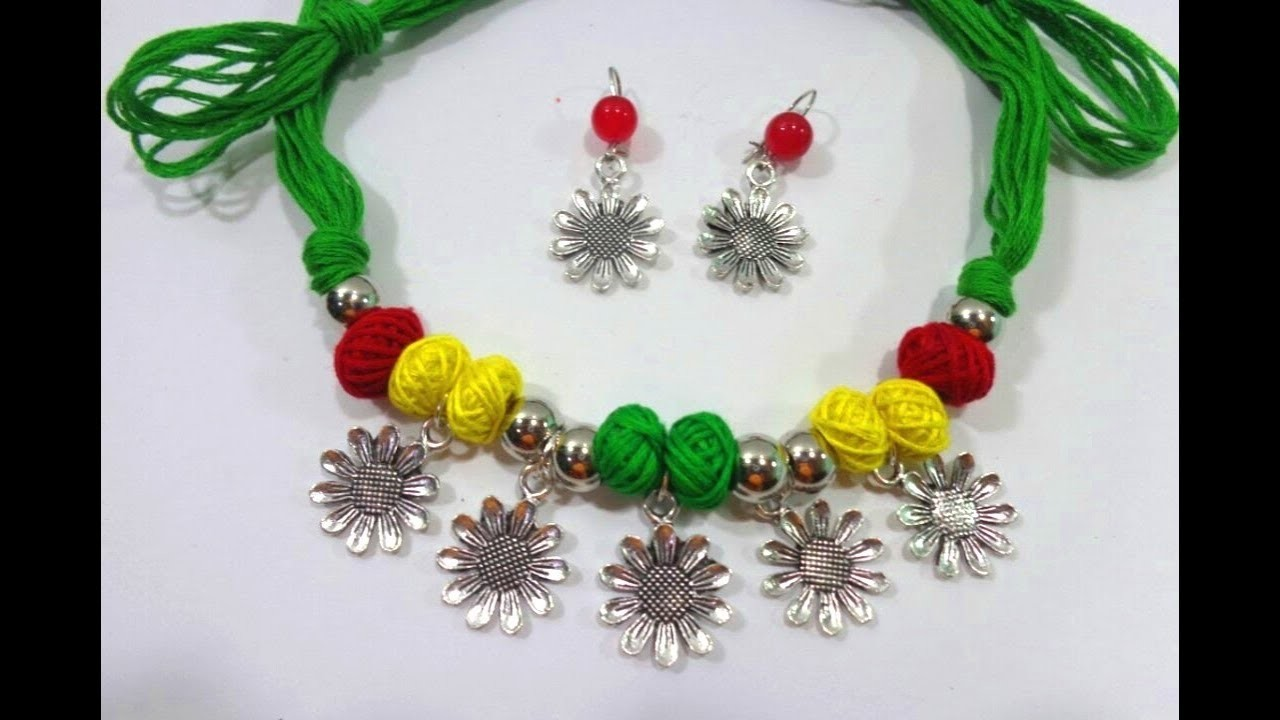 How to Make Lovely Cotton Thread Bead Necklace With Earrings. Handmade Jewelry Tutorial -DIY