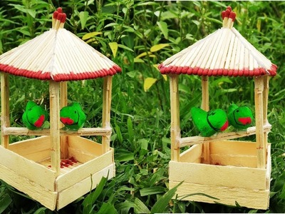 How to make mini Matchstick bird house। mini home for birds। matchstick art.