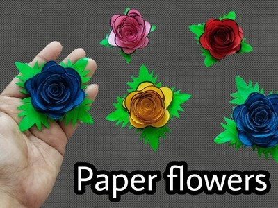 How to make paper flowers|Paper Rose making|Small paper rose|Paper Flowers|ArtHolic KM