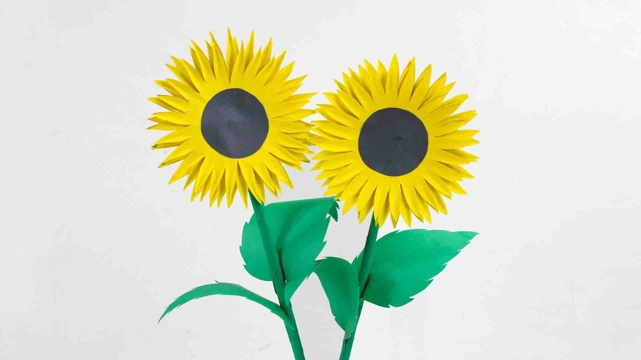 How to Make Paper Sunflower   Making Paper Flowers Step by Step