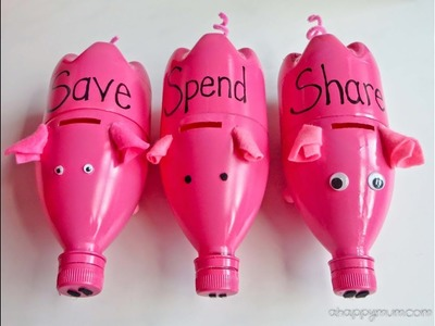 How to Make Piggy Banks from Recycled Water Bottles | Sophie's World