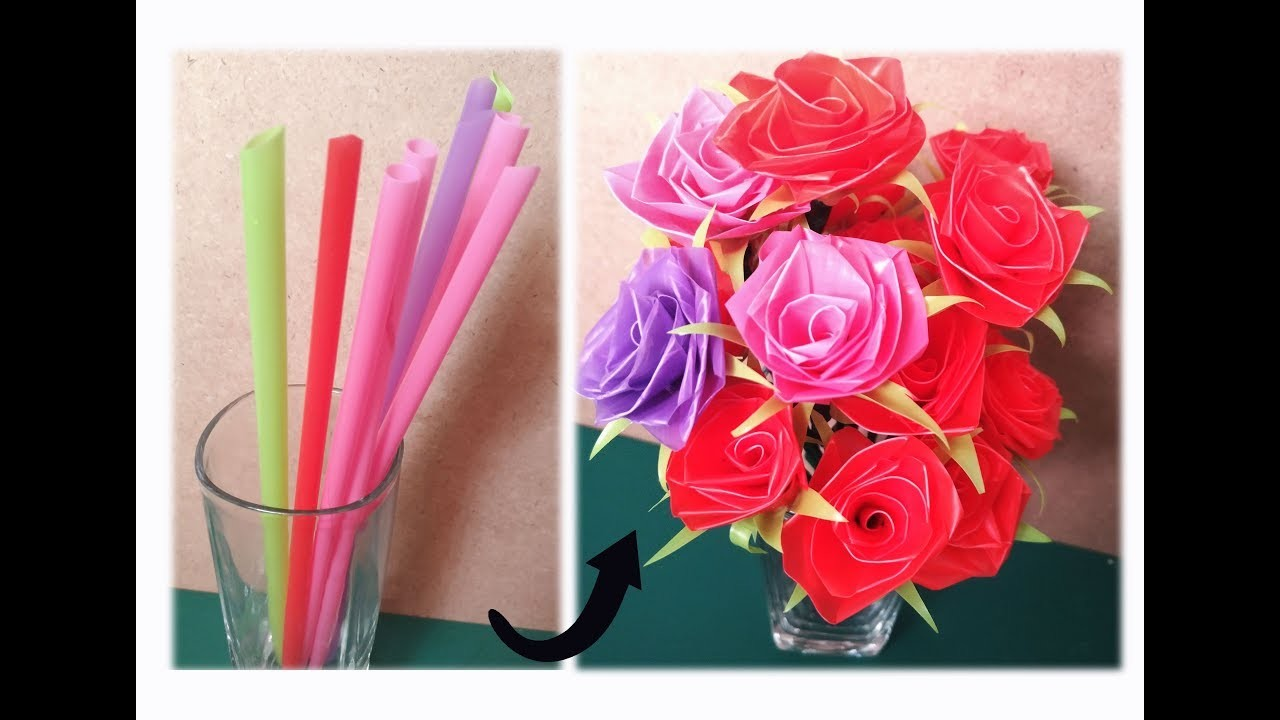How to make straw rose flower crafts. diy. art