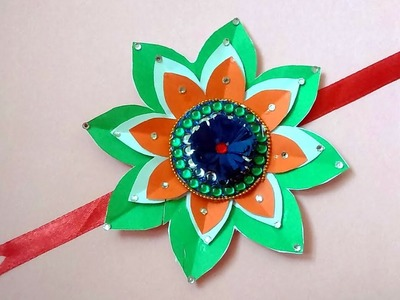 How to make tricolor rakhi with paper paper rakhi making for kids Flower paper rakhi for kids
