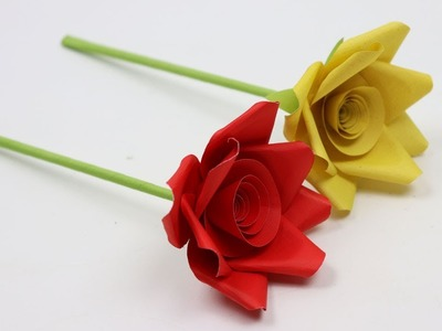 How to Make Very Simple and Easy Paper Rose Flowers Not Origami Easy Paper Roses Flower Tutorial