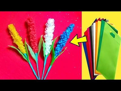 How to making easy shopping bag flower ????best out of waste ???? DIY: room decor idea♥