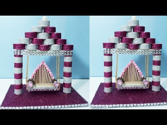 New DESIGN TOOTHPICK JHULA Showpiece | HOW TO MAKE SWING | EASY ART AND CRAFT IDEAS 2018