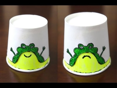 Paper Cup Frog with Two Emotions ~  How to Make It & Draw It ~ Funny Video for Kids ~ Tutorial