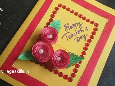 Teacher's day greeting card making ideas,How to make very easy Greeting card,handmade,DIY Roses card