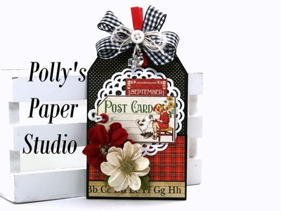 Vintage Back To School Tag Booklet Teacher Gift Graphic 45 Polly's Paper Studio Tutorial DIY Process