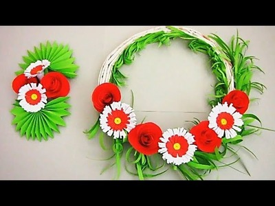 Wall Decoration Ideas | Beautiful Wall Hanging Making at Home | Paper Flower Wall Hanging 67