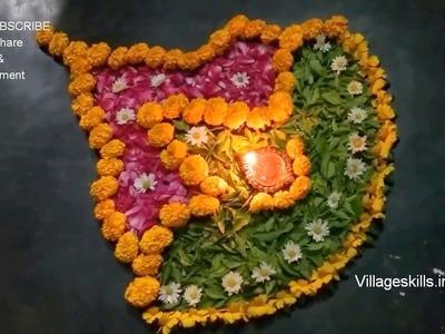 2 DIY Flower rangoli ideas for festivals, Ganesh chaturthi,Dasara,Diwali,sankranthi,Ugadi,sivarathri