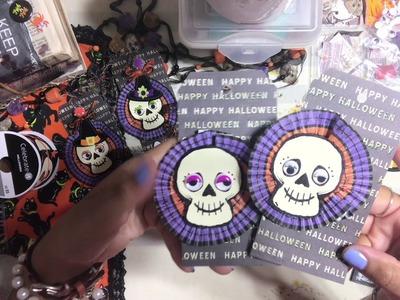 #20. Halloween ???? Craft Series 2018 - DIY Skeleton Face Gift Tags Embellishments
