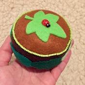Brown leaf&ladybird embellished felt pincushion GIFT