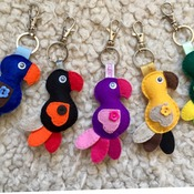 Colourful parrot keyring in various colour variations Bag charm Tag Keyholder