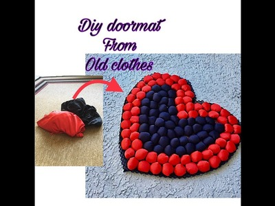 Diy doormat from old clothes. heart shaped table mat.Floor mat.Fashion pixies
