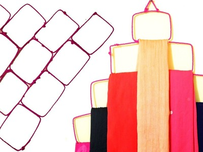 DIY easy Dupatta. Scarf Organizer at your home. DIY Clothes Organizer. Best out of waste