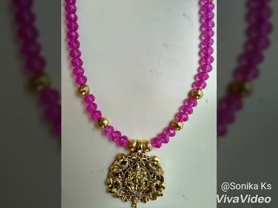 DIY Easy making of Crystal Beads Chain with Ganesha pendent