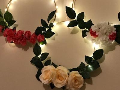 DIY - embroidery hoop wreath   diy- LED floral hoop  diy- decor  Diy- wreath   DIY- hoop decoration
