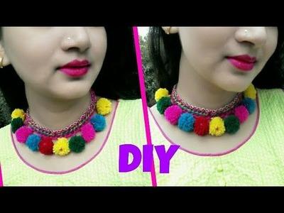 DIY | NAVRATRI SPECIAL JEWELLERY. Navratri special diy pompom choker style statement neckless