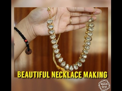 DIY necklace.(हिन्दी मे)how to make simple kundan necklace.