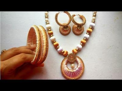 DIY White Silk Thread Jwellery Set  by MISS. ARTOFY