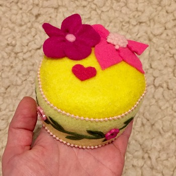 Felt  2-tone Yellow flower embellished pincushion GIFT