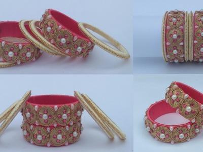 How To Make Designer Silk Thread Lace Bangle- DIY Bridal Pearl Bangle set Making Tutorial at Home