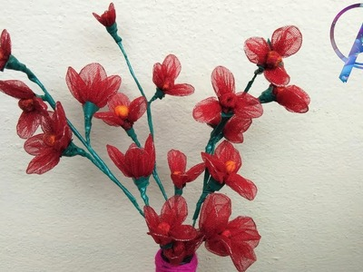 How to make flowers with net cloth | how to make flowers at home