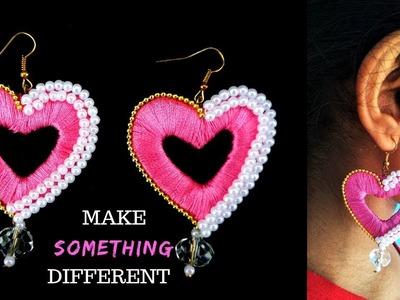 How to make Silk Thread Earrings at home| DIY Heart shape Earrings