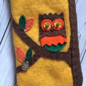 Mobile phone case iphone6 size felt soft smart phone case Brown/yellow, Owl on a branch