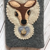 Mobile phone case - iphone6 size Felt soft smart phone case  Brown with blue and grey Deer head embellisment