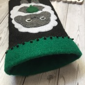 Mobile phone case iphone6 size felt soft smart phone case black with cute Irish Lamb / Shamrock