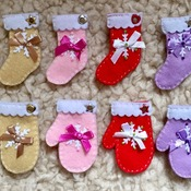 Red Felt Gift tags Gloves and Booties with beads and bow Christmas cute gift  Handmade present charm set of 2