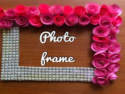 Anniversary  gifting ideas flowers photo frame.photo frame of origami roses using cardboard