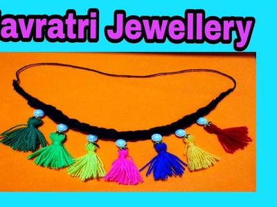 DIY Best out of waste. Navratri Garba Jewellery. Ornaments making using wool. Nceklace Making DIY