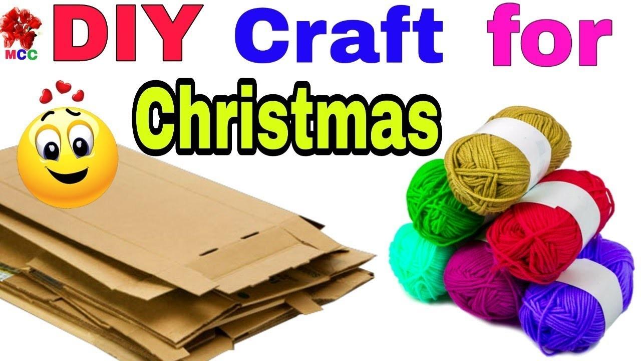 DIY:Christmas Room Decor  how to make christmas tree with cardboard & wool  DIY christmas tree