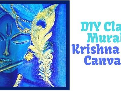 DIY CLAY MURAL KRISHNA ON CANVAS